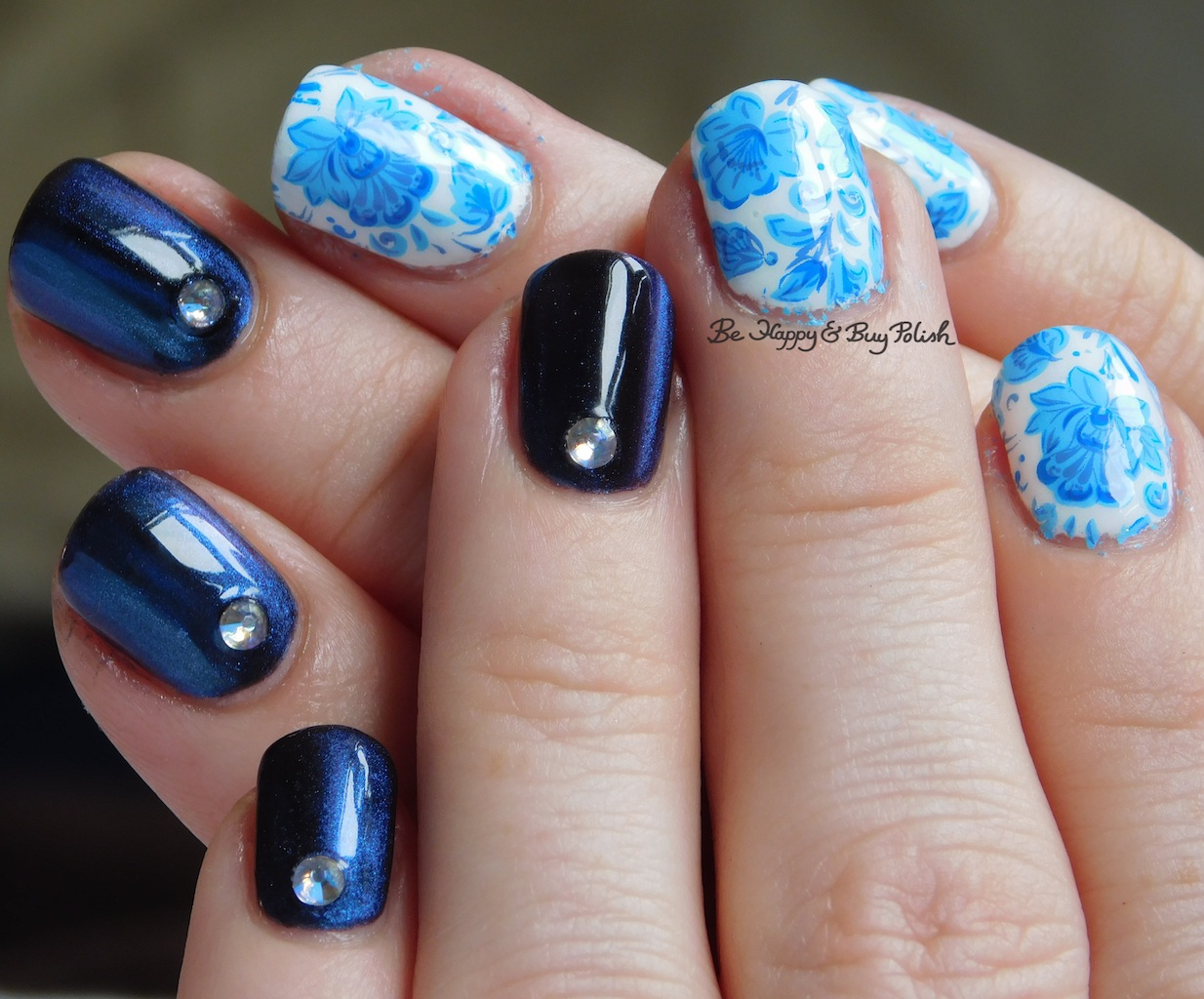Blue China Magnetic Nail Art With Kbshimmer Sally Hansen Crystal