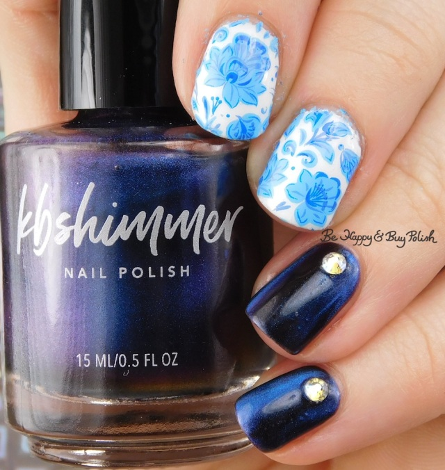 KBShimmer No Comet with blue flower nail art | Be Happy And Buy Polish