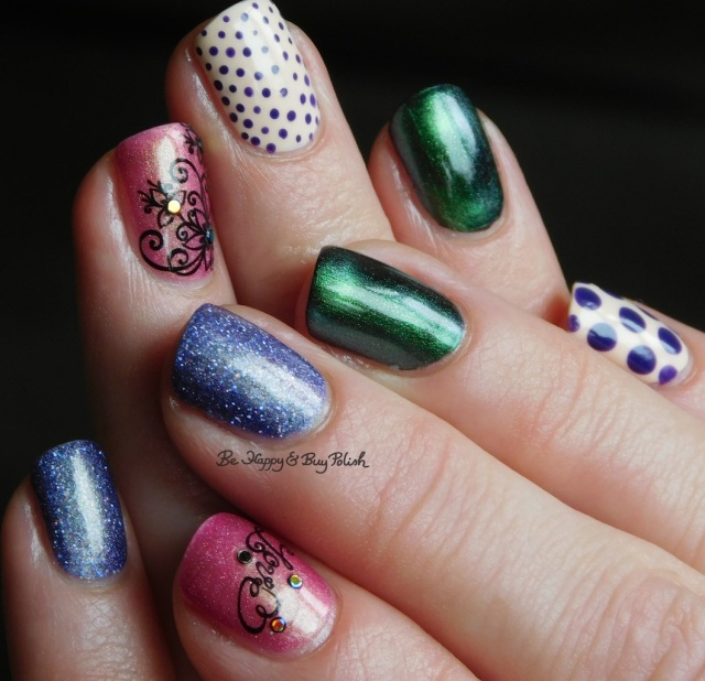 KBShimmer, Sally Hansen, OPI, CrowsToes Nail Color, Polish 'M flower and dots skittlette full manicure | Be Happy And Buy Polish