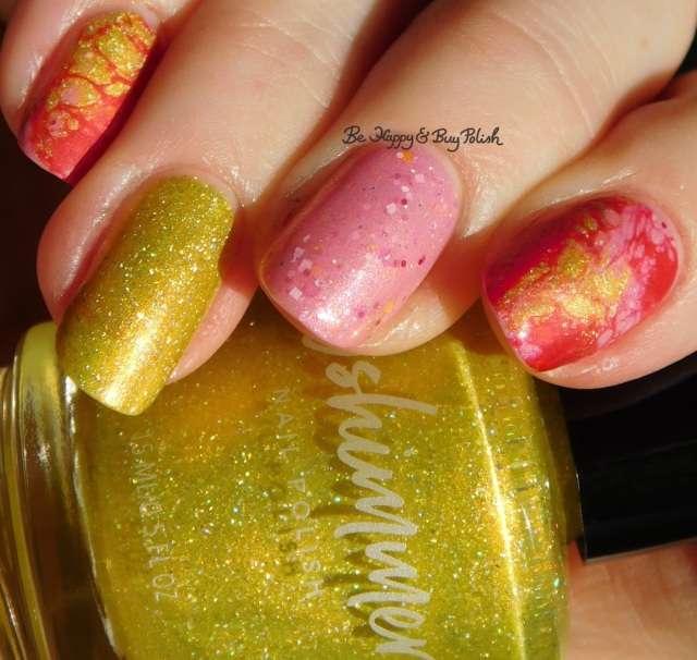 KBShimmer Squeeze the Day, Polish 'M Life Is What You Bake It, Sinful Colors Redrum Hypnotic Transforming Top Coat marbled nail art | Be Happy And Buy Polish