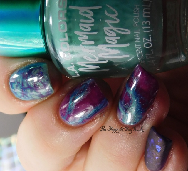 L.A. Colors Mermaid Magic Sea Life, Lemming Lacquer Ghosts of the Vault, Sinful Colors Punk the Town, Aquamarine geode nail art | Be Happy And Buy Polish