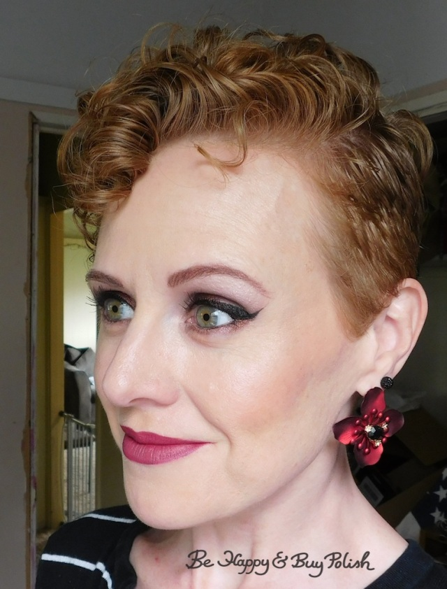 makeup look for redheads with L.A. Girl Pro, Lorac Dead Men Tell No Tales eyeshadow palette, Revlon Colorburst Matte Balm, Glamour Doll Eyes   Be Happy And Buy Polish