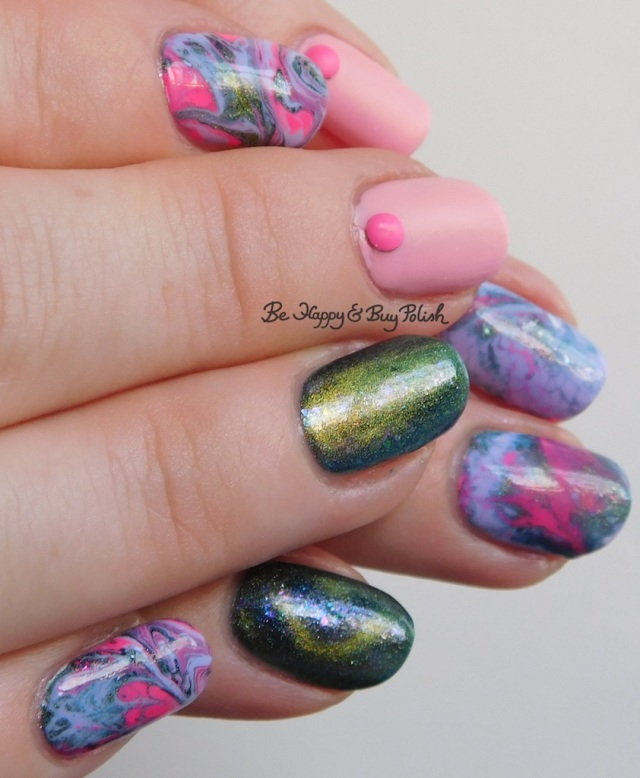 OPI Suzi Shops & Island Hops, Sinful Colors Purpunk Transforming Top Coat, Bee's Knees Lacquer The World, B Squared Lacquer Kandi fluid nail art full manicure | Be Happy And Buy Polish