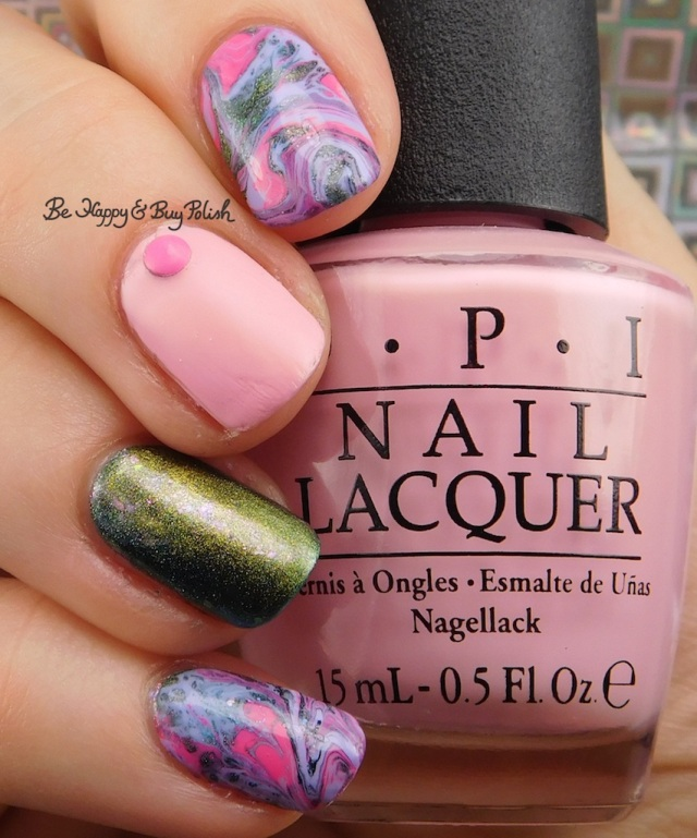 OPI Suzi Shops & Island Hops, Sinful Colors Purpunk Transforming Top Coat, Bee's Knees Lacquer The World, B Squared Lacquer Kandi fluid nail art manicure | Be Happy And Buy Polish