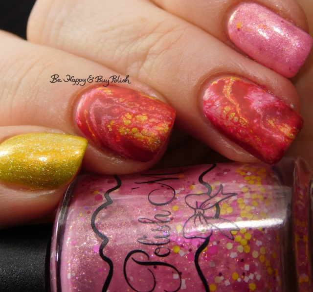 Polish 'M Life Is What You Bake It, Sinful Colors Redrum Hypnotic Transforming Top Coat, KBShimmer Squeeze the Day marbled nail art | Be Happy And Buy Polish