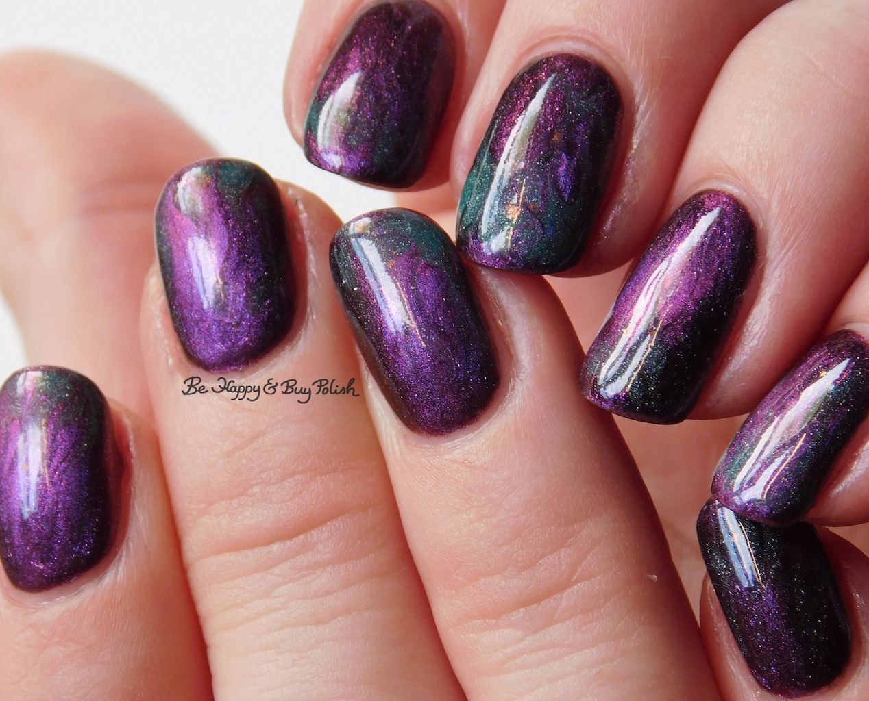 Magnetic And Thermal Flame Drag Marble Nail Art With Shleee Polish