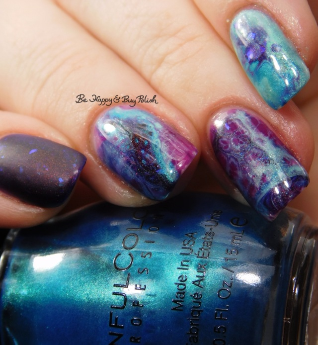 Sinful Colors Aquamarine, L.A. Colors Mermaid Magic Sea Life, Lemming Lacquer Ghosts of the Vault, Sinful Colors Punk the Town geode nail art | Be Happy And Buy Polish