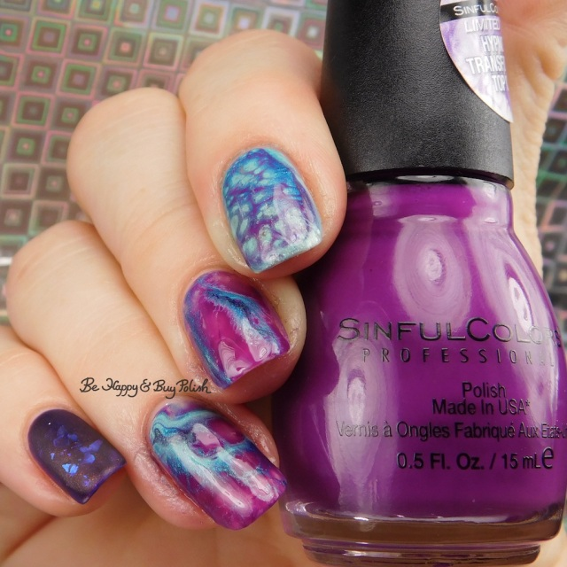 Sinful Colors Punk the Town, Aquamarine, L.A. Colors Mermaid Magic Sea Life, Lemming Lacquer Ghosts of the Vault geode nail art | Be Happy And Buy Polish