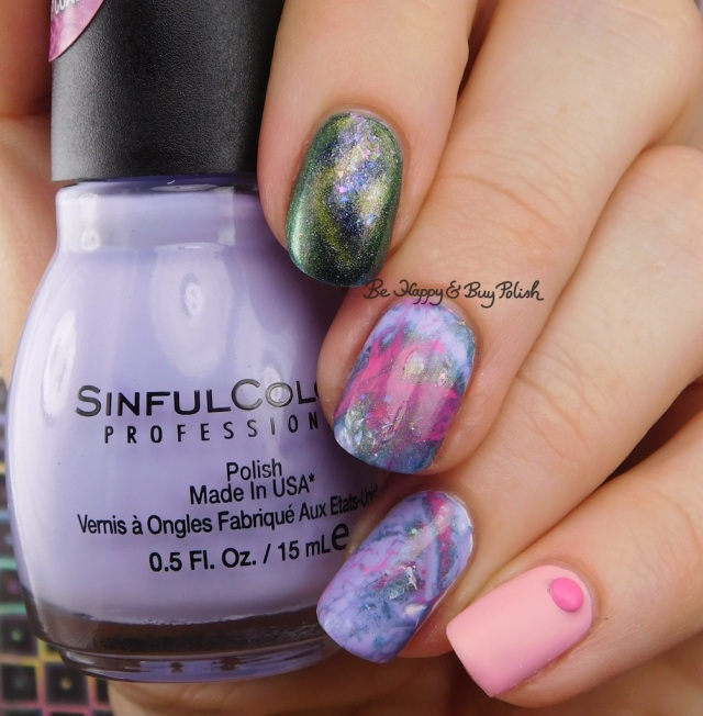 Sinful Colors Purpunk Transforming Top Coat, Bee's Knees Lacquer The World, B Squared Lacquer Kandi, OPI Suzi Shops & Island Hops fluid nail art mani | Be Happy And Buy Polish