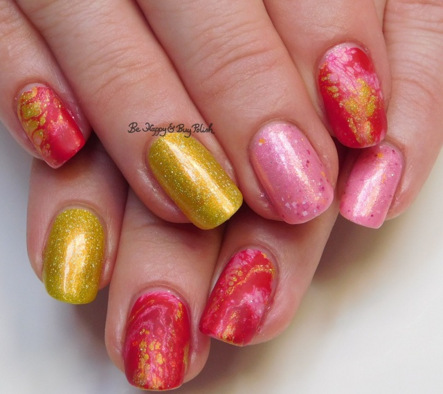 spotted marbled nail art with Sinful Colors Redrum Hypnotic Transforming Top Coat, KBShimmer Squeeze the Day, Polish 'M Life Is What You Bake It | Be Happy And Buy Polish