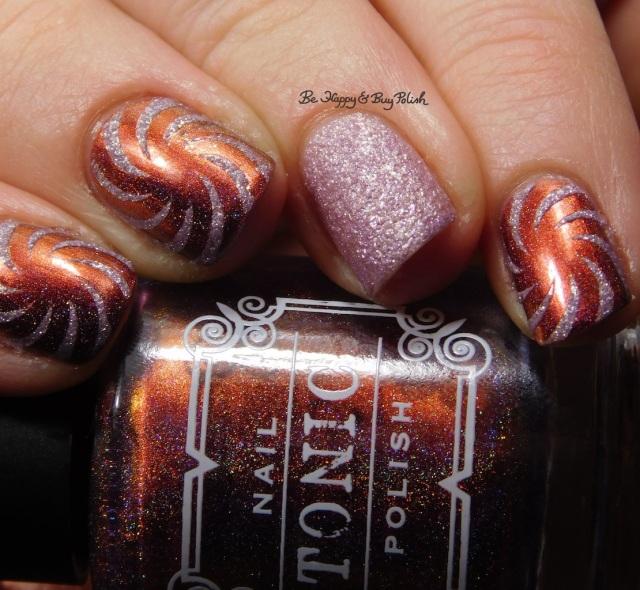 Tonic Polish Rose, Formula X Glitter Rocket swirl nail art close up | Be Happy And Buy Polish