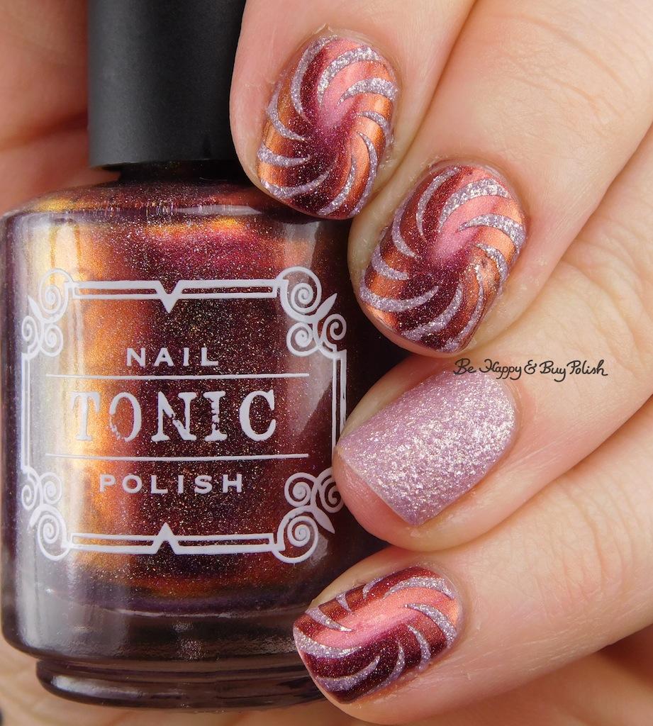 Tonic Polish Rose 2017 + Formula X Glitter Rocket swirl nail art ...