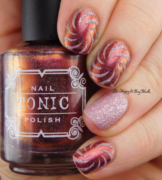 Tonic Polish Rose, Formula X Glitter Rocket swirl nail art   Be Happy And Buy Polish