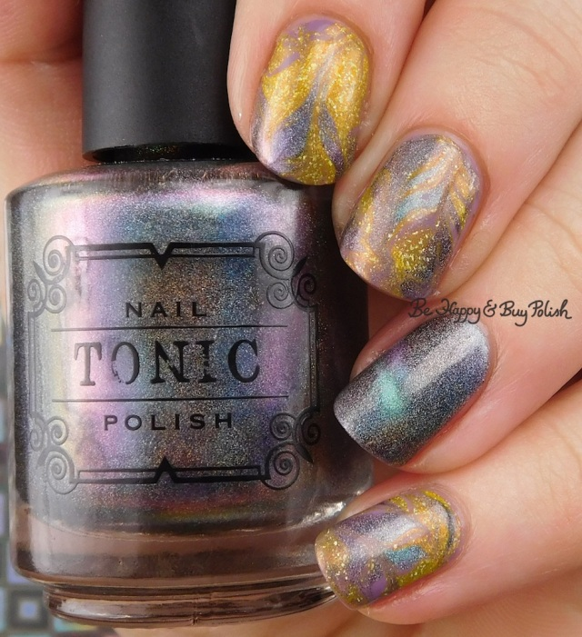 Tonic Polish Ru, Sinful Colors Shock Candy, KBShimmer Squeeze the Day marble nail art | Be Happy And Buy Polish
