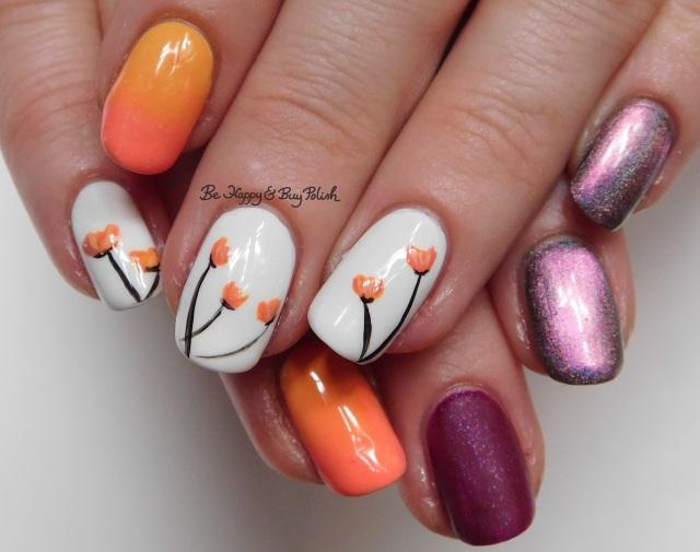 Tulip nail art manicure with Polish 'M, Tonic Polish, Wet N Wild, China Glaze | Be Happy And Buy Polish