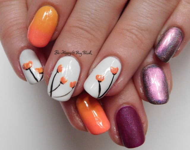 Tulip nail art manicure with Polish 'M, Tonic Polish, Wet N Wild, China Glaze | Be Happy And Buy Polish