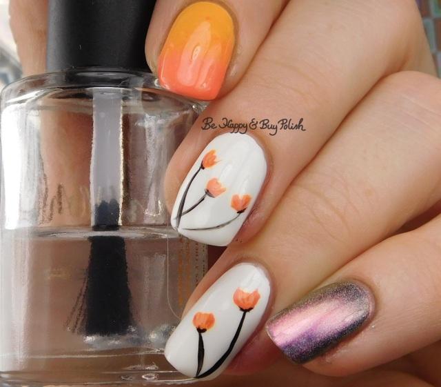 Tulip nail art with Polish 'M, Tonic Polish, Wet N Wild, China Glaze | Be Happy And Buy Polish