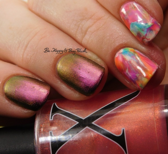 Baroness X Fire Opal, Sinful Colors neons, KBShimmer Just a Phase neon nail art decals | Be Happy And Buy Polish