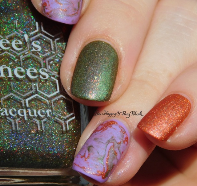 Bee's Knees Lacquer Fauna, Polish 'M Motivate, China Glaze Let's Jam fluid marble nail art | Be Happy And Buy Polish