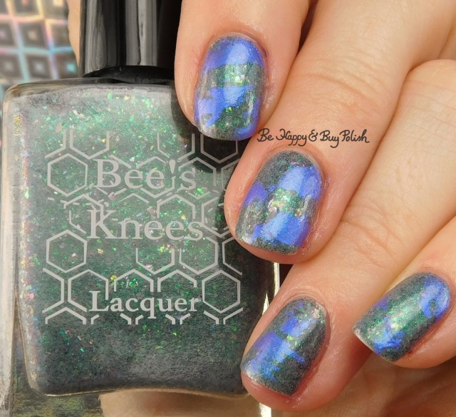 Bee's Knees Lacquer Luck Isn't a Superpower, Moonflower Polish Fluorite Glow distressed stamping nail art | Be Happy And Buy Polish