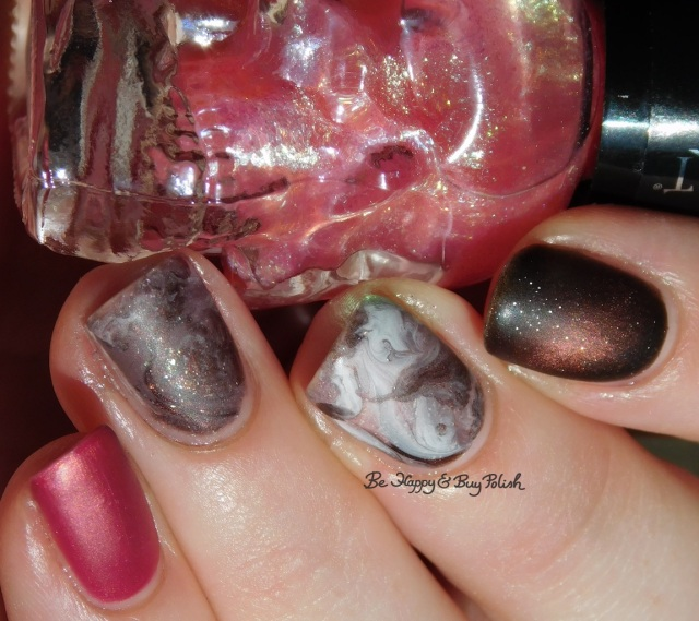 Blackheart Beauty Pink Pearls, Turtle Tootsie Polishes Bolide, L.A. Colors Road Trip, China Glaze Flirty Femininity, ILNP Sweet Pea, Sinful Colors White on Time fluid marble nail art | Be Happy And Buy Polish