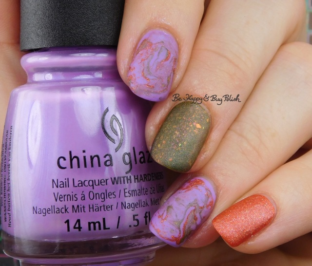 China Glaze Let's Jam, Bee's Knees Lacquer Fauna, Polish 'M Motivate fluid marble nail art | Be Happy And Buy Polish