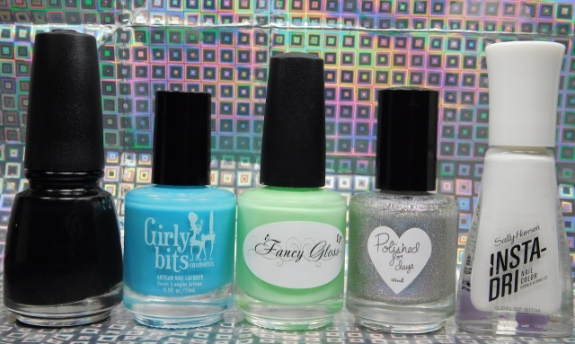 China Glaze Liquid Leather, Girly Bits Cosmetics Dreaming Tree, Fancy Gloss Secret Garden, Polished For Days P.Y.T., Sally Hansen Insta-Dri White On Time | Be Happy And Buy Polish