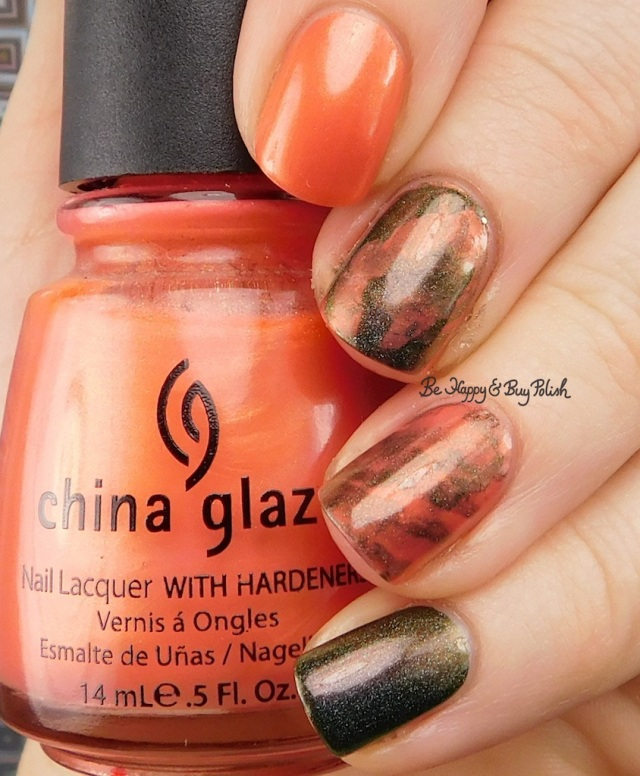 China Glaze Thataway, Great Lakes Lacquer O R'lyeh nail art | Be Happy And Buy Polish