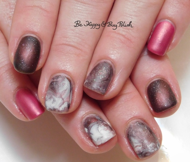 fluid marble nail art with ILNP Sweet Pea, Sinful Colors White on Time, L.A. Colors Road Trip, Blackheart Beauty Pink Pearls, Turtle Tootsie Polishes Bolide, China Glaze Flirty Femininity | Be Happy And Buy Polish