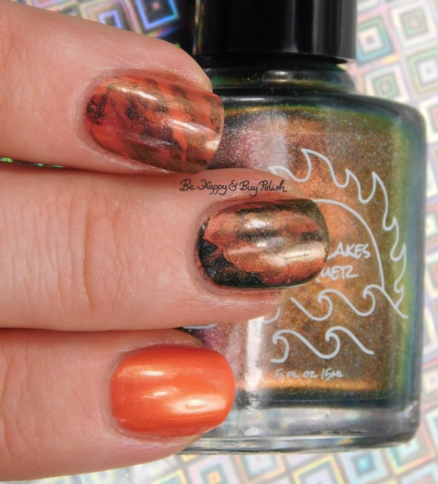 Great Lakes Lacquer O R'lyeh, China Glaze Thataway nail art close up | Be Happy And Buy Polish