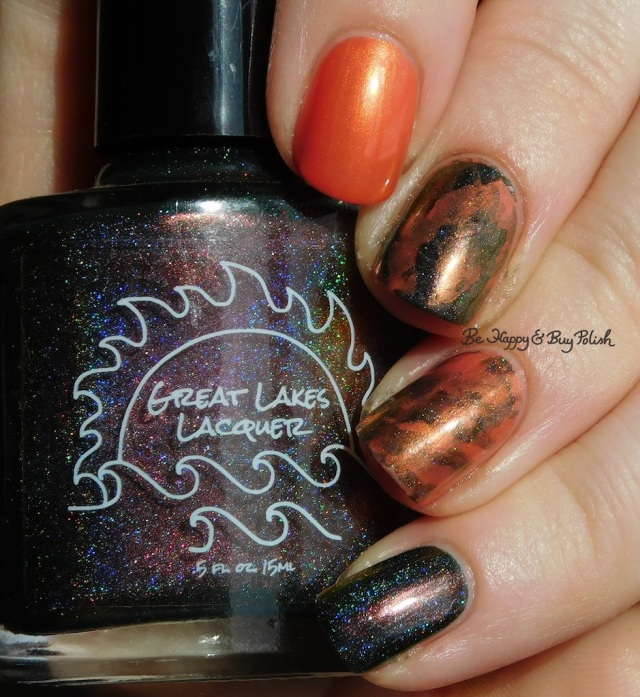 Great Lakes Lacquer O R'lyeh, China Glaze Thataway nail art holographic | Be Happy And Buy Polish