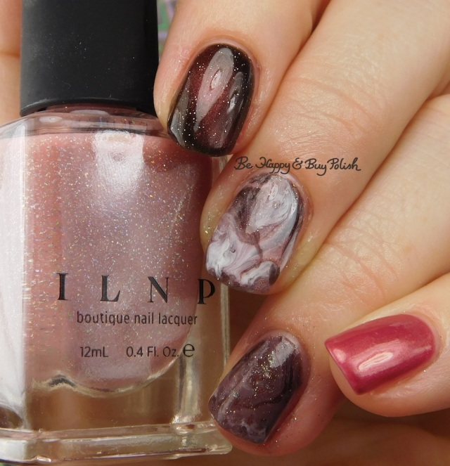 ILNP Sweet Pea, Sinful Colors White on Time, L.A. Colors Road Trip, Blackheart Beauty Pink Pearls, Turtle Tootsie Polishes Bolide, China Glaze Flirty Femininity fluid marble nail art | Be Happy And Buy Polish