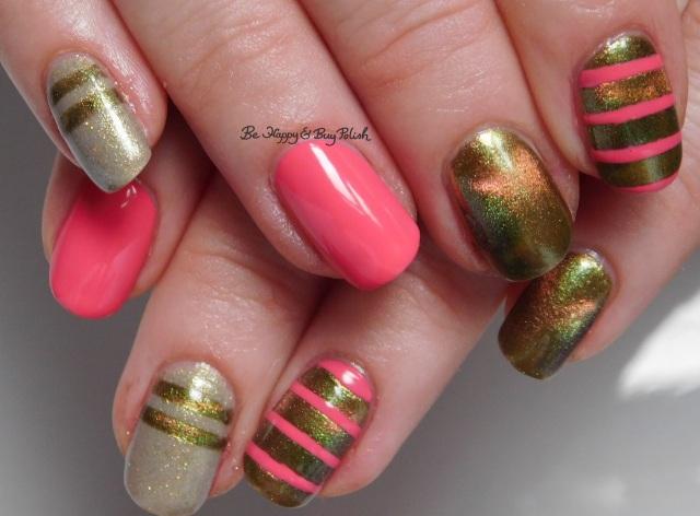 Jessica Cosmetics Starfish Glow, Polish 'M Tip Tau-pe Through the Tulips, Shleee Polish Area X stripe nail art full manicure   Be Happy And Buy Polish