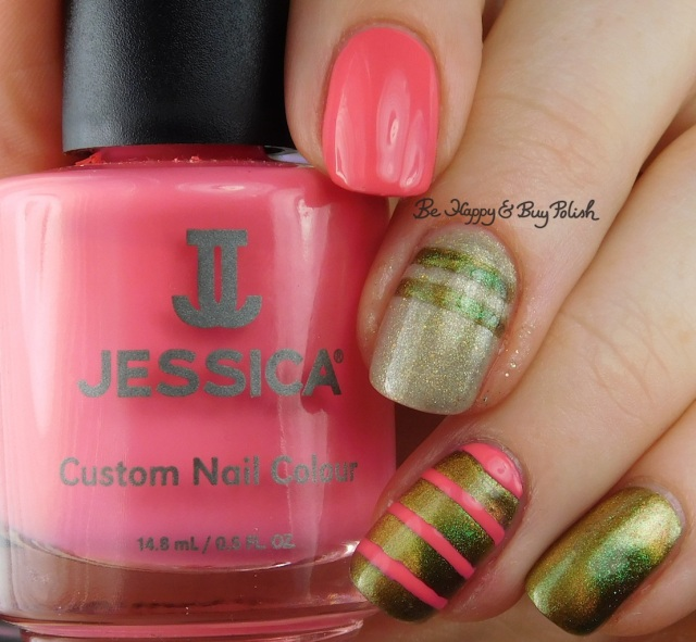 Jessica Cosmetics Starfish Glow, Polish 'M Tip Tau-pe Through the Tulips, Shleee Polish Area X stripe nail art manicure | Be Happy And Buy Polish