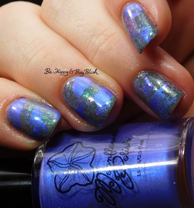 Moonflower Polish Fluorite Glow, Bee's Knees Lacquer Luck Isn't a Superpower distressed stamping nail art | Be Happy And Buy Polish