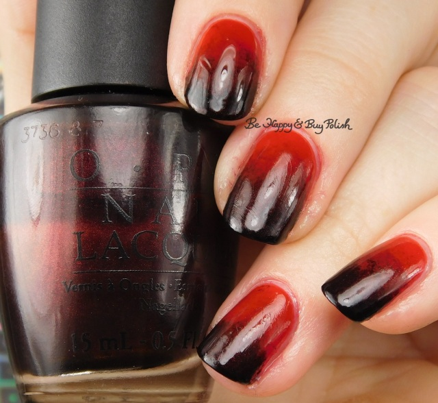 nail art gradient with OPI Midnight in Moscow, OPI The Thrill of Brazil, Cult Nails Nevermore | Be Happy And Buy Polish
