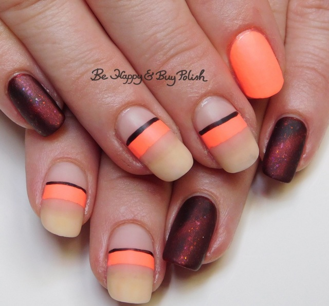 neon stripe manicure with Bee's Knees Lacquer All the Dinosaurs Fear the T-Rex, JulieG Bikini, Sally Hansen Rosy Quartz | Be Happy And Buy Polish