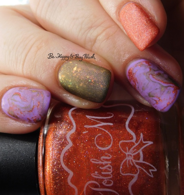 Polish 'M Motivate, China Glaze Let's Jam, Bee's Knees Lacquer Fauna fluid marble nail art | Be Happy And Buy Polish