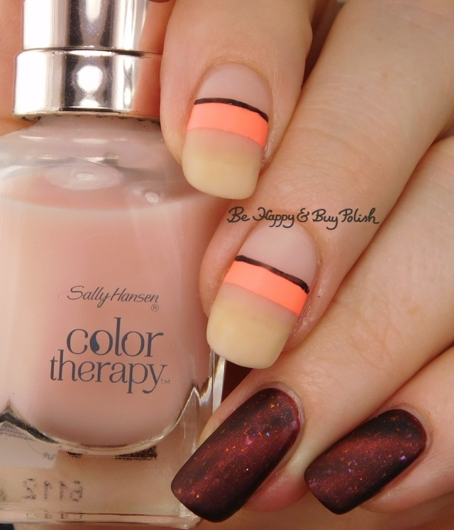 Sally Hansen Rosy Quartz, Bee's Knees Lacquer All the Dinosaurs Fear the T-Rex, JulieG Bikini neon stripe manicure | Be Happy And Buy Polish