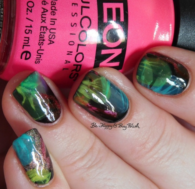 Sinful Colors Diamond Blogs, Sinful Colors Out in Space, B Squared Lacquer Plur, Tonic Polish Caliente, China Glaze Liquid Leather veiled nails | Be Happy And Buy Polish