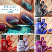 Sinful Colors Transforming Top Coats swatches + nail art with Femme Fatale Cosmetics