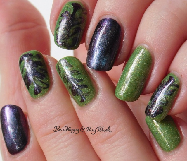 swirly magnetic manicure with Polished For Days Vitae, Polish 'M Where My Witches At? | Be Happy And Buy Polish