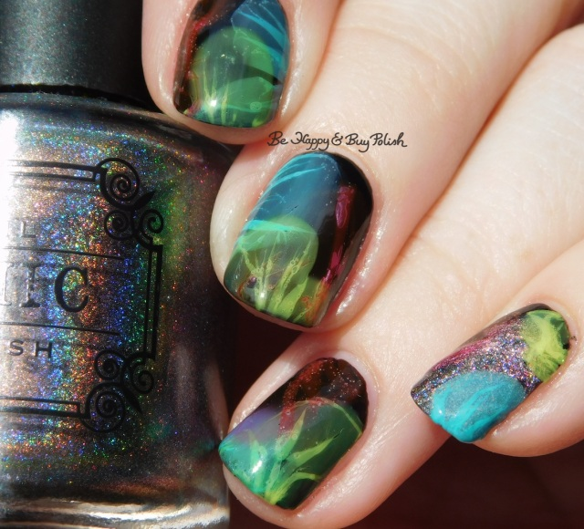 Tonic Polish Caliente, Sinful Colors Diamond Blogs, Sinful Colors Out in Space, B Squared Lacquer Plur, China Glaze Liquid Leather veiled nails | Be Happy And Buy Polish