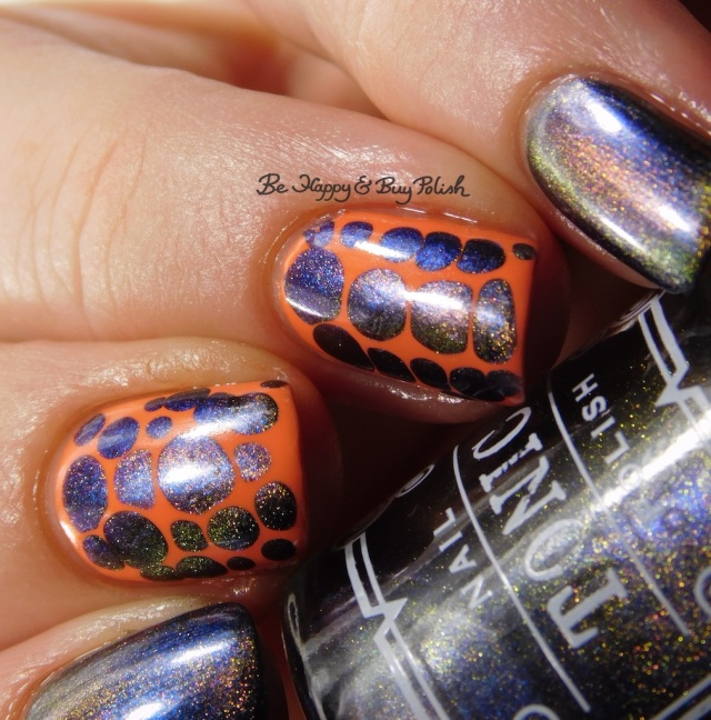 Tonic Polish Diva Royale, Jessica Cosmetics Monsoon Melon blobbicure nail art close up | Be Happy And Buy Polish
