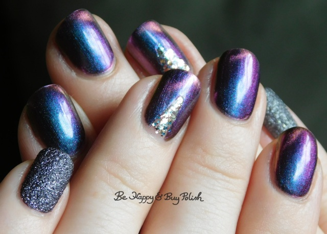 Tonic Polish Drag Race, Blackheart Beauty Rose Gold Meteor Shower, Formula X Orion's Belt full manicure | Be Happy And Buy Polish