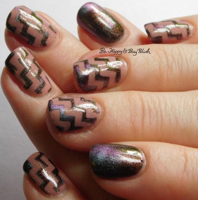 Tonic Polish Xtravaganza magnetic nail polish, 6 Harts Heart of the Milky Way zig zag nail art full manicure   Be Happy And Buy Polish