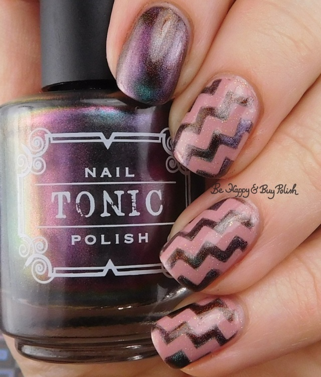 Tonic Polish Xtravaganza magnetic nail polish, 6 Harts Heart of the Milky Way zig zag nail art manicure | Be Happy And Buy Polish