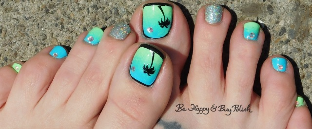 tropical neon blue and green pedicure | Be Happy And Buy Polish