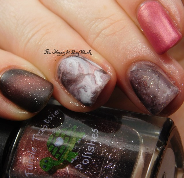 Turtle Tootsie Polishes Bolide, L.A. Colors Road Trip, Blackheart Beauty Pink Pearls, China Glaze Flirty Femininity, ILNP Sweet Pea, Sinful Colors White on Time fluid marble nail art | Be Happy And Buy Polish