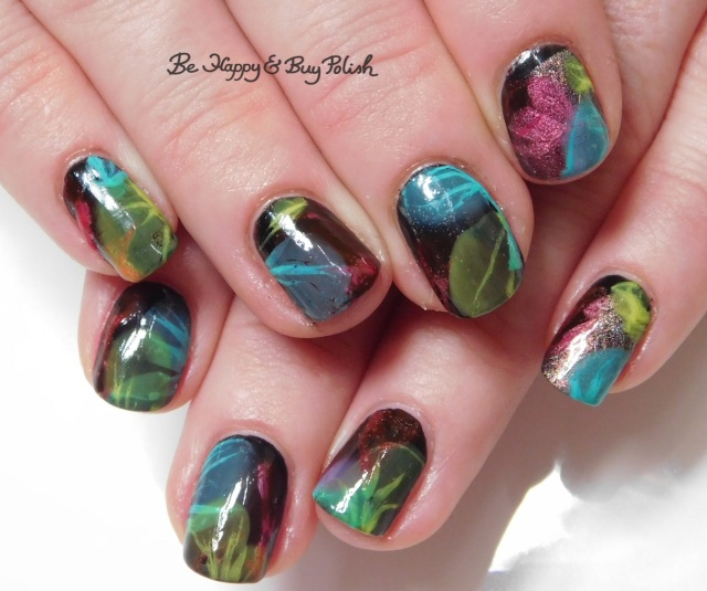 veiled nails with Tonic Polish Caliente, Sinful Colors Diamond Blogs, Sinful Colors Out in Space, B Squared Lacquer Plur, China Glaze Liquid Leather | Be Happy And Buy Polish